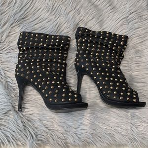 Torrid size 10 black studded peep toe ankle boots